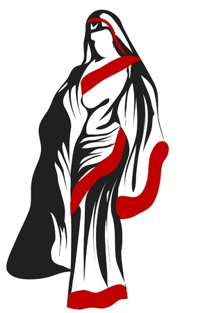 sari: sari woman. abstract silhouette isolted on a white background