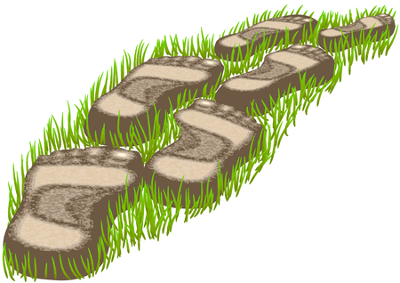 stepping: stepping stones on a green grass