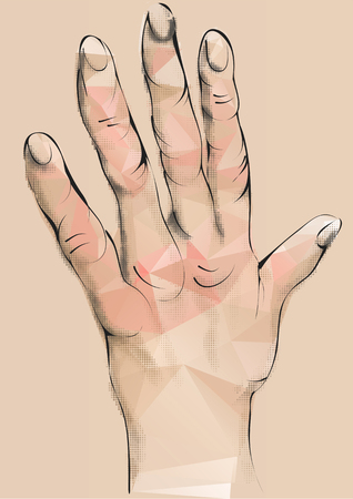 arthritic: arthritis. abstract human hand with deformed fingers Illustration