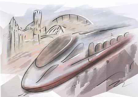 bullet train. modern high speed train with motion blur Illustration