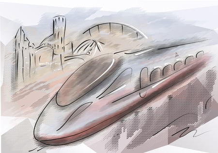 bullet train. modern high speed train with motion blur Illustration