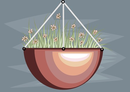 suspend: hanging basket with flowers on blue background Illustration