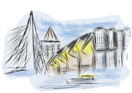 rotterdam. abstract illustration os city on multicolor background Stock Illustratie