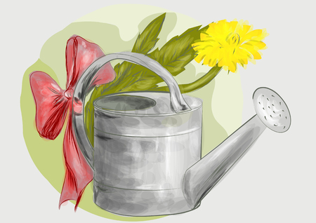 zinc: watering can. old watering can on abstract background