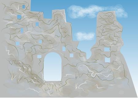 ティンタジェル城。伝説の城の抽象的なイラスト