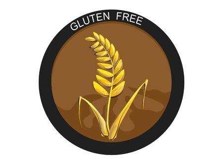 Glutenvrij voedseletiket, badge of zegel met tarwe of korrelembleem