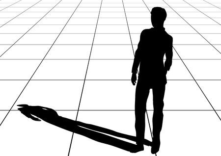 uomo ombra su lastre di pavimentazione. 10eps Vettoriali