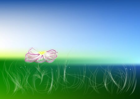 idyllic: meadow. Idyllic landscape with fresh green meadows and blooming flower Illustration