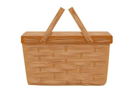 picnic basket isolated on a white background Ilustração