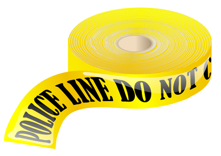 police tape isolated on a white background Illustration