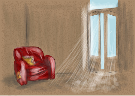 dirty house: abandoned room with red sofa. 10 EPS Illustration