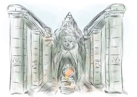 cambodia sculpture: angkor thom. abstract illustration of ancient temple