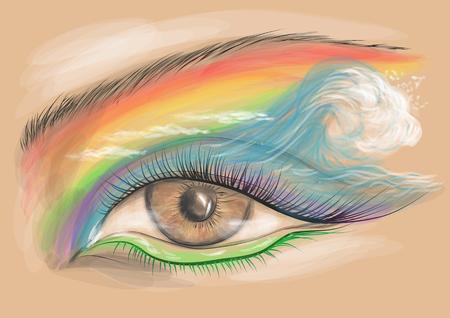 eyelid: eyeshadow. eyes look with creative colorful  makeup.