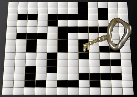 opens: crossword with abstract key wich opens the lock