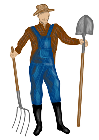 agrarian: farmer character. Isolated vector illustration.