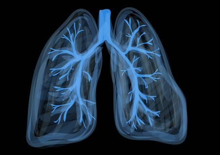 lungs. blue abstract respiratory organ on black background Vector Illustration