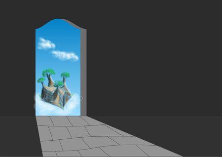 doorway: doorway in dark room with abstract sky and clouds