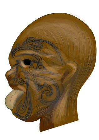 wooden mask: maori tatoo. traditional tatoo on wooden mask Illustration