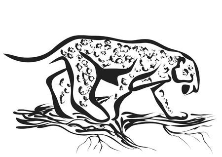 carnivore: jaguar abstract silhouette isolated on white background Illustration