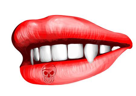 lamia: vampir lips isolated on a white background Illustration