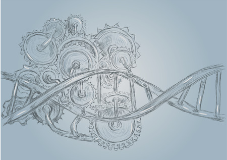 modification: DNA and gears abstract sketch.