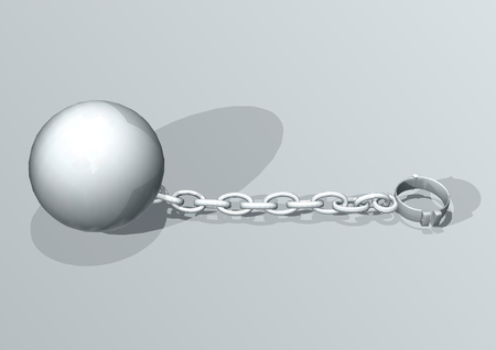 convict: Convict ball and chain. concept of freedom Illustration