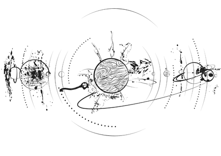 planet system in black on white background Illustration