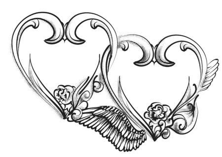 Twee harten teken, geïsoleerd op een witte achtergrond