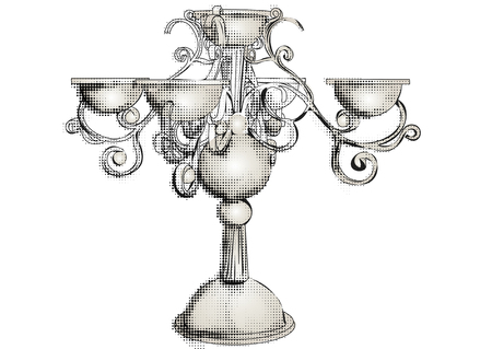 silver candelabrum isolated on the white background Illustration
