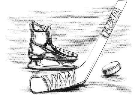 puck: hockey puck, stick and skate on white Illustration