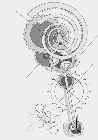 watch movement: Pendulum concept, abstract clock in moviment