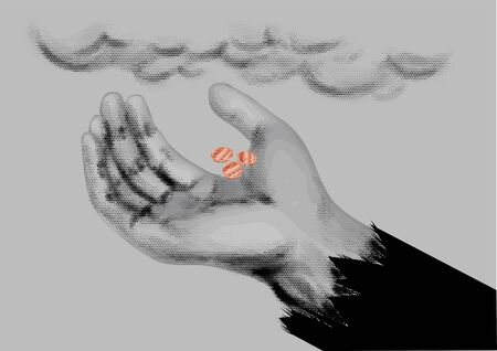 begging: Beggar symbol. mendicants hand with coins on gray