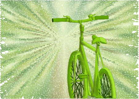 road bike: bicycle green road. abstract bike on a green background Illustration