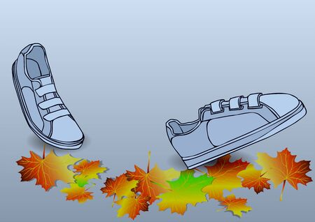 ion: boots traveling ion autumn leves solated on the white background