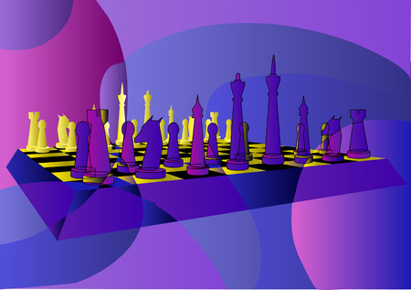 abstract chess on multicolor background Illustration