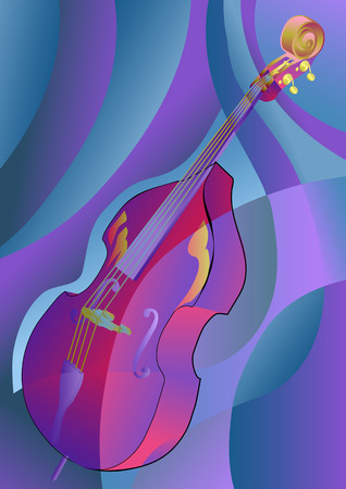 contrabass: contrabass on multicolor background. Illustration