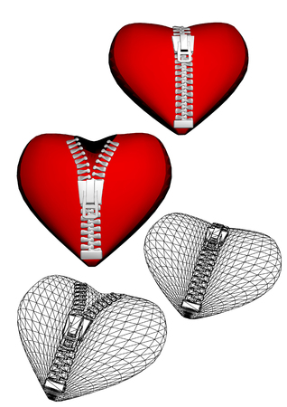 Set of red and white hearts with zipper.