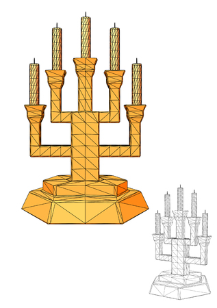 Menorah. Seven branched candlestick isolated on white Illustration