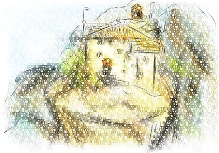 meteora . abstract vector illustration of ancient monastery Векторная Иллюстрация