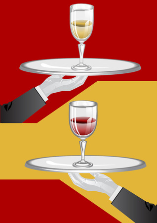 wine glasses. Hands of the waiter with a tray