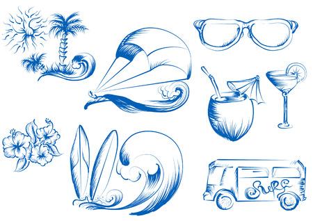 kite surfing. set of summer icons Illustration