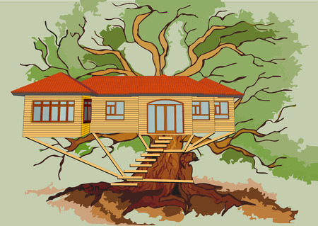 treehouse on branch of green oak Illustration