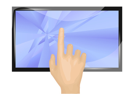 touch screen and human hand isolated on white