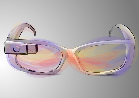 google glass, abstract computer glass on grey background
