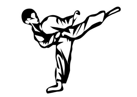 Karate. Silhouette of a karateka doing standing side kick Illustration