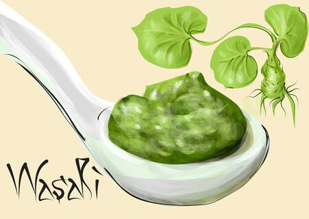 wasabi. plant and spoon with green condiment