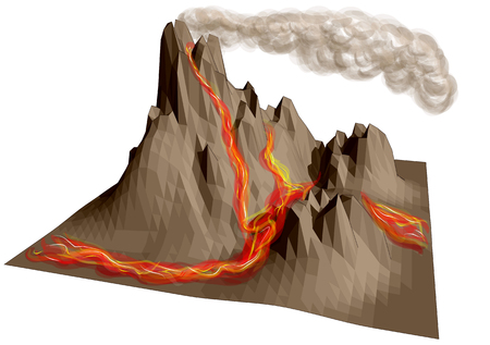 disaster: volcano erupting. abstract montain isolated on white