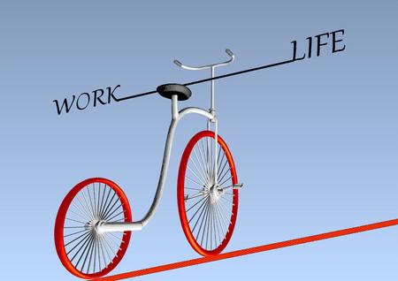 work life balance. vintage bike on ruop Illustration