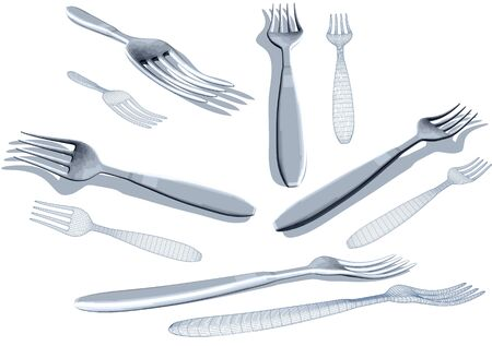 Fork set isolated on a white background