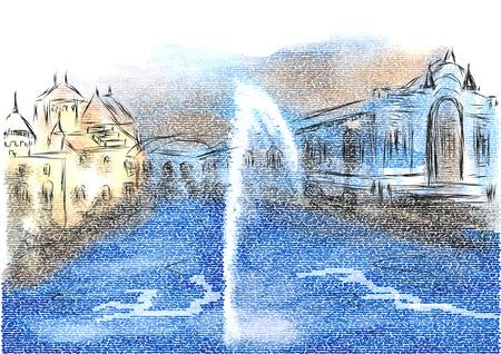 Ilustración abstracta de Ginebra. Ilustración abstracta de Ginebra sobre fondo multicilor